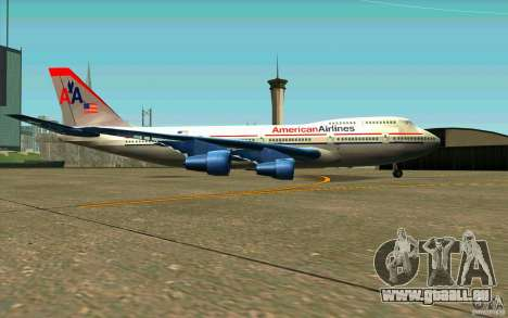 B-747 American Airlines Skin pour GTA San Andreas sur la vue arrière gauche