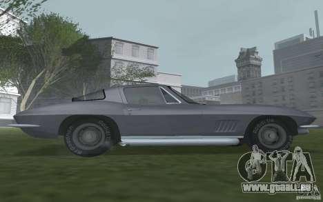 Chevrolet Corvette 427 pour GTA San Andreas sur la vue arrière gauche