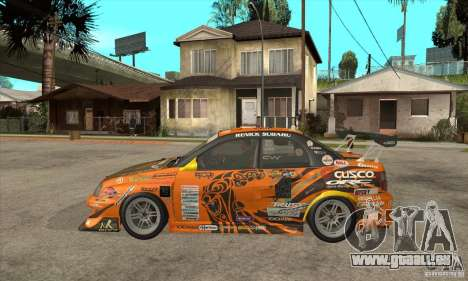 Subaru Impreza D1 WRX Yukes Team Orange pour GTA San Andreas laissé vue