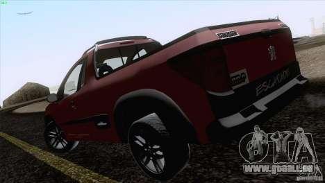 Peugeot Hoggar Escapade 2010 pour GTA San Andreas sur la vue arrière gauche