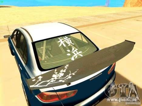 Mitsubishi Lancer Evolution X Time Attack pour GTA San Andreas sur la vue arrière gauche
