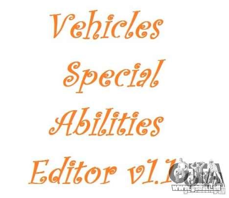 Vehicles Special Abilities Editor v1.1 für GTA San Andreas