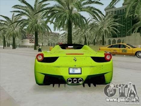 Ferrari 458 Spider für GTA San Andreas rechten Ansicht