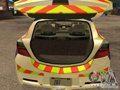 Opel Astra 2007 Police pour GTA San Andreas vue arrière