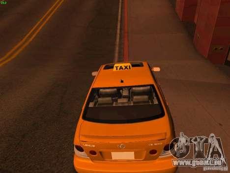Lexus IS300 Taxi pour GTA San Andreas sur la vue arrière gauche