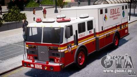 LCFD Hazmat Truck v1.3 für GTA 4 Rückansicht