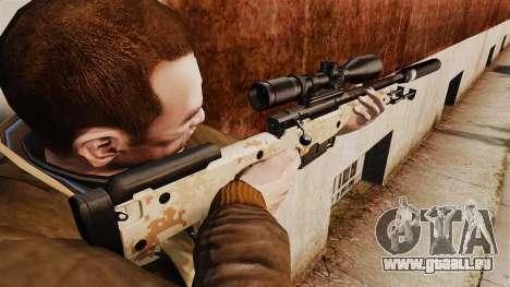 Fusil de sniper AW L115A1 avec un silencieux v9 pour GTA 4 secondes d'écran