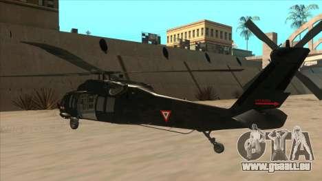 Sikorsky UH-60L Black Hawk Mexican Air Force für GTA San Andreas Rückansicht
