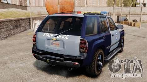 Chevrolet Trailblazer 2002 Massachusetts Police für GTA 4 hinten links Ansicht