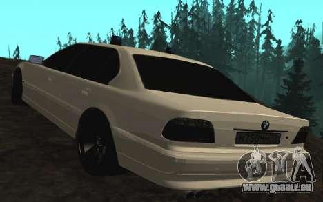 BMW 750iL E38 avec lumières clignotantes pour GTA San Andreas sur la vue arrière gauche