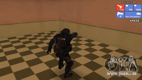 Peau SWAT pour GTA San Andreas troisième écran