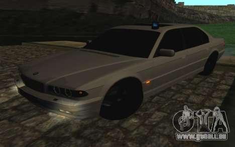 BMW 750iL E38 avec lumières clignotantes pour GTA San Andreas vue intérieure