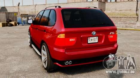 BMW X5 4.8iS v3 pour GTA 4 Vue arrière de la gauche