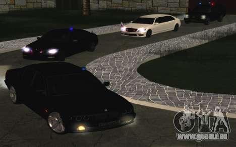 BMW 750iL E38 mit blinkenden Lichtern für GTA San Andreas Rückansicht