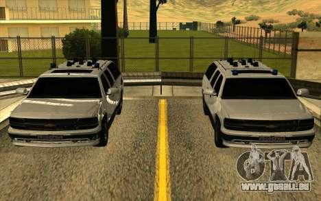 Chevrolet Suburban für GTA San Andreas obere Ansicht
