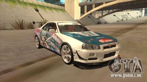 Nissan Skyline R34 Itasha für GTA San Andreas Rückansicht