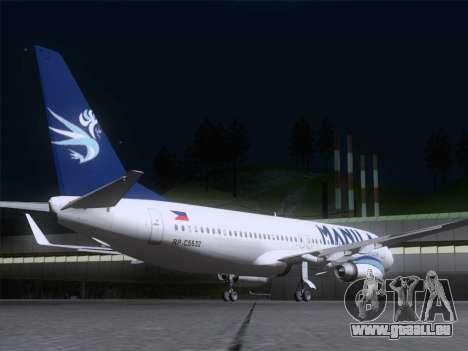 Boeing 737-800 Spirit of Manila Airlines pour GTA San Andreas vue de droite