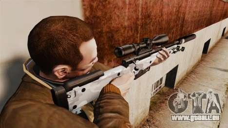 Fusil de sniper AW L115A1 avec un v6 de silencie pour GTA 4 secondes d'écran