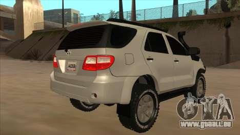 Toyota Fortunner 2012 Semi Off Road für GTA San Andreas rechten Ansicht