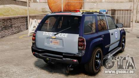 Chevrolet Trailblazer 2002 Massachusetts Police für GTA 4 hinten links Ansicht