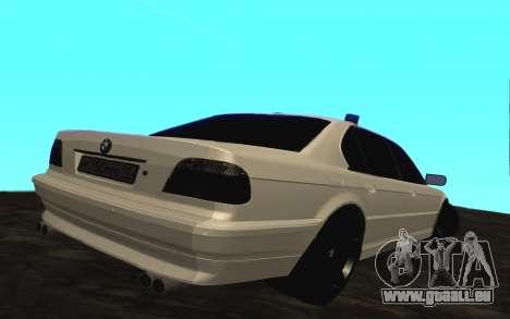 BMW 750iL E38 avec lumières clignotantes pour GTA San Andreas vue de droite