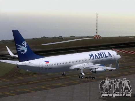 Boeing 737-800 Spirit of Manila Airlines pour GTA San Andreas vue de dessous