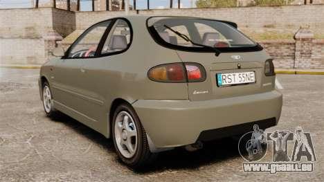 Daewoo Lanos Sport PL 2000 pour GTA 4 Vue arrière de la gauche