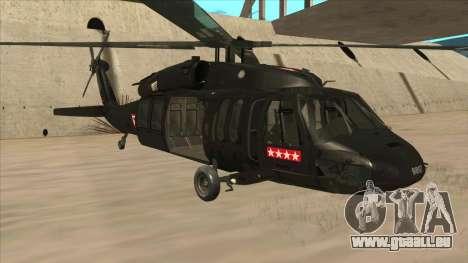 Sikorsky UH-60L Black Hawk Mexican Air Force für GTA San Andreas linke Ansicht