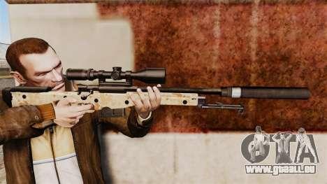 Fusil de sniper AW L115A1 avec un silencieux v9 pour GTA 4