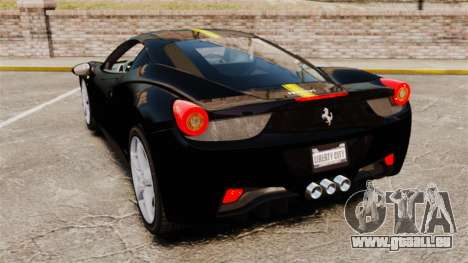 Ferrari 458 Italia 2010 Wheelsandmore 2013 pour GTA 4 Vue arrière