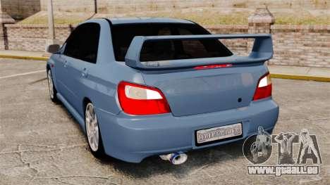 Subaru Impreza WRX 2001 pour GTA 4 Vue arrière de la gauche
