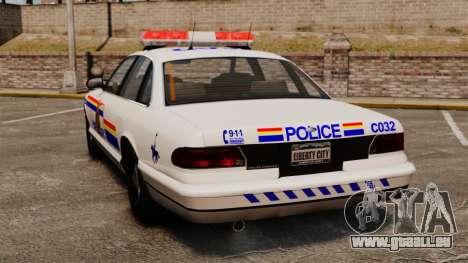 Die Royal Canadian Mounted Police für GTA 4 hinten links Ansicht