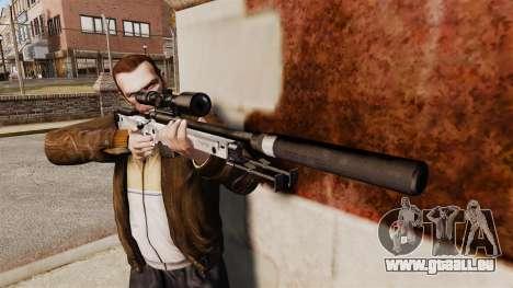 Fusil de sniper AW L115A1 avec un v6 de silencie pour GTA 4 troisième écran
