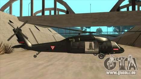 Sikorsky UH-60L Black Hawk Mexican Air Force für GTA San Andreas zurück linke Ansicht