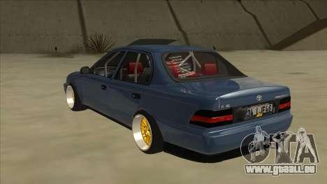 Toyota Corolla 1.6 1997 Hellaflush pour GTA San Andreas vue arrière