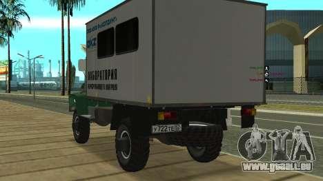 Avtolaboratoriâ GAZ 3309 Sadko pour GTA San Andreas sur la vue arrière gauche