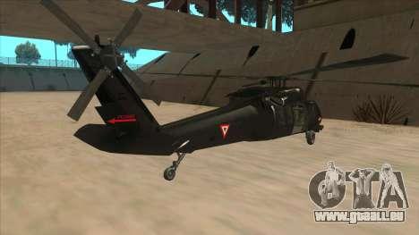 Sikorsky UH-60L Black Hawk Mexican Air Force für GTA San Andreas rechten Ansicht