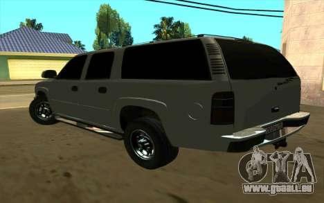 Chevrolet Suburban pour GTA San Andreas sur la vue arrière gauche
