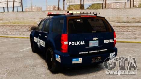 Chevrolet Tahoe 2007 De La Policia Federal [ELS] pour GTA 4 Vue arrière de la gauche