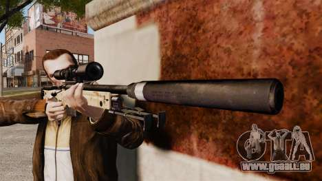 Fusil de sniper AW L115A1 avec un silencieux v9 pour GTA 4 troisième écran