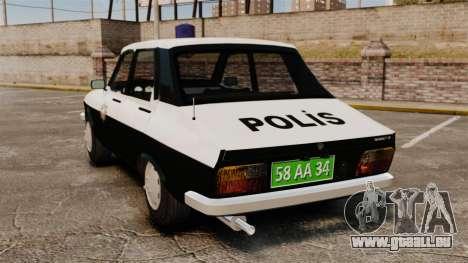 Renault 12 Classic 1980 Turkish Police pour GTA 4 Vue arrière de la gauche
