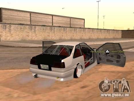 Toyota Corrola GTS JDM für GTA San Andreas zurück linke Ansicht