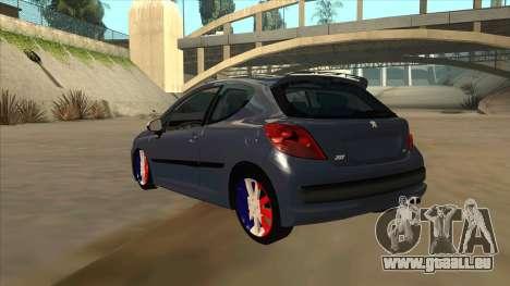 Peugeot 207 RC pour GTA San Andreas vue arrière