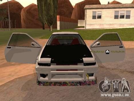 Toyota Corrola GTS JDM für GTA San Andreas rechten Ansicht