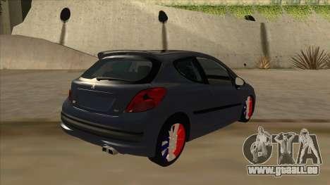 Peugeot 207 RC pour GTA San Andreas vue de droite
