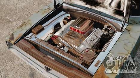 Dodge Charger RT 1969 rouillé v1.1 pour GTA 4 est une vue de l'intérieur