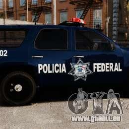 Chevrolet Tahoe 2007 De La Policia Federal [ELS] pour GTA 4 est une gauche