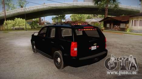 Chevrolet Tahoe LTZ 2013 Unmarked Police pour GTA San Andreas sur la vue arrière gauche