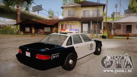 Vapid GTA V Police Car pour GTA San Andreas vue de droite