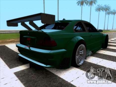 BMW M3 E46 GTR pour GTA San Andreas sur la vue arrière gauche